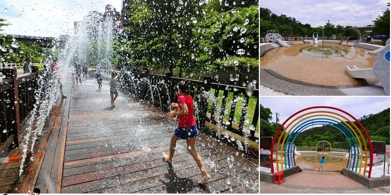 【基隆超好玩無料戲水池】基隆暖暖親水公園~水上大象溜滑梯、橋形噴泉、超高水柱噴泉廣場