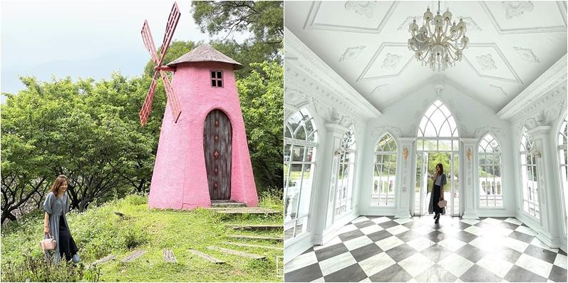 台北陽明山景點》純白浪漫教堂~真愛桃花源庭園餐廳,粉紅風車, 夢幻湖泊都好好拍