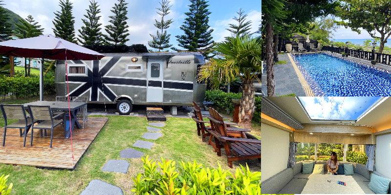 花蓮都鐸王朝露營車|海景六星露營車, 有獨立庭院, 海景戲水池, 看海吃英式下午茶