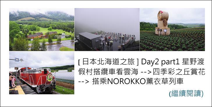 [ 日本北海道之旅 ] Day2 part1 星野渡假村搭纜車看雲海 –> 四季彩之丘賞花 –> 搭乘NOROKKO薰衣草列車